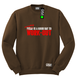 Everyday is a good day to work-out - bluza męska bez kaptura standard brązowa