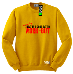 Everyday is a good day to work-out - bluza męska bez kaptura standard żółta