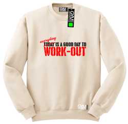 Everyday is a good day to work-out - bluza męska bez kaptura standard beżowa
