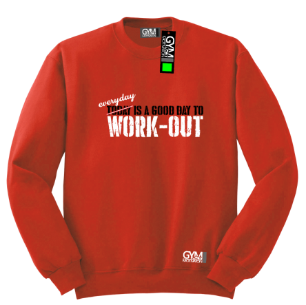 Everyday is a good day to work-out - bluza męska bez kaptura standard czerwona